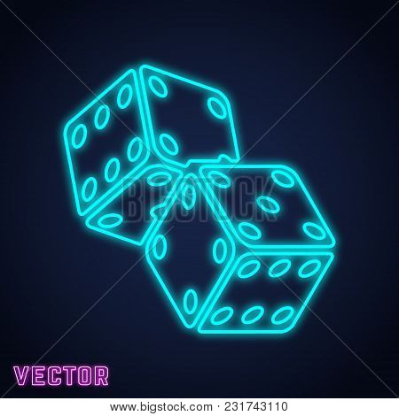 Game Dice Icon. Two Game Dices Neon Line Design. Vector Illustration.