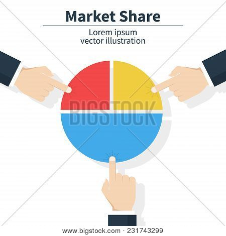 Business Market Share Concept. Businessman Holding In Hand Pie Chart. Financial, Share Profit. Vecto