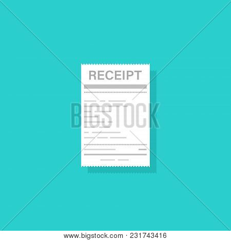 Receipt Icon In A Flat Style Isolated On A Green Background. Concept Paper Receipts Icons. Financial