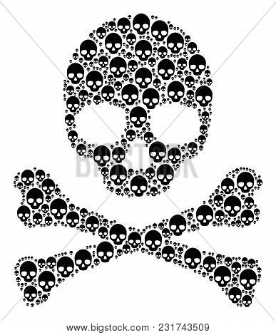 Death Mosaic Made Of Skull Pictograms. Vector Skull Elements Are Composed Into Conceptual Dangerous