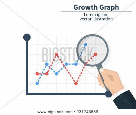 The Concept Of Graph Growth. Businessman Holding A Magnifier. The Stock Market Has Arrived. Vector I