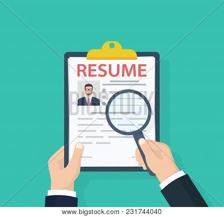 Man Holding Resumes In Hand. Concept Of Human Resources Management. Selecting Staff And Earching Pro
