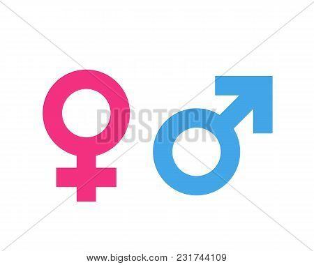 Gender Symbol Pink And Blue Icon Vector Illustration