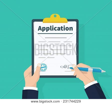 Application Form. Man With Clipboard In His Hand Fills In The Form Of Employment. Write Documents. A