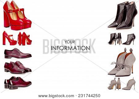 Set Shoes Female Male Beauty Fashion Pattern On White Background Isolation