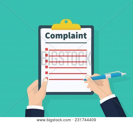 Complaint Concept. Claim Petition. Man Hold Clipboard In Hand Wrote A Complaint. Flat Design, Vector
