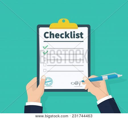 Businessman Hands Holding Clipboard Checklist With Pen. Checklist, Complete Tasks, To-do List, Surve