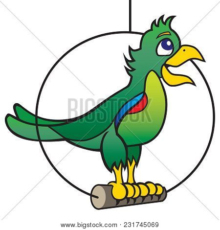 A Chatty Cartoon Parrot Is Standing On His Perch Talking