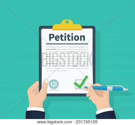 Petition Concept. Man Hold Clipboard In Hand Writes Petition Concept. Diagrams. Flat Design, Vector