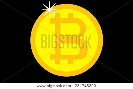Golden Bitcoin Digital Currency, Futuristic Digital Money, Technology Worldwide Network Concept, Vec