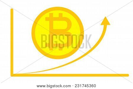 Digital Bitcoin Cryptocurrency. Virtual Money. Cryptocurrency Concept. Golden Coin With Bitcoin Sign