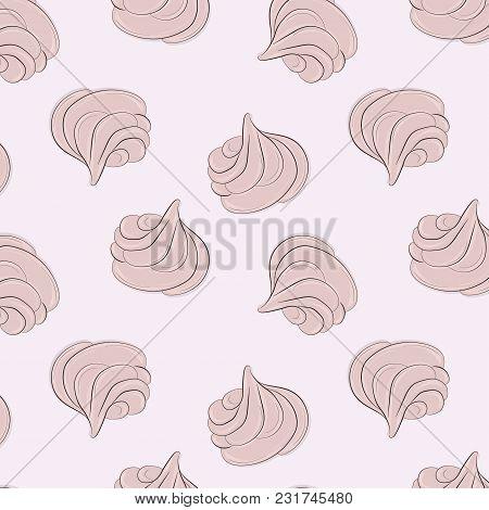 Meringues Sweet Pattern. Creamy Delicious Marshmallow Sugar Texture. Bakery Decoration. Delicious De