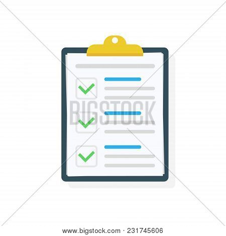 Clipboard With Checklist Icon. Checklist Complete Tasks, To-do List, Survey, Exam Concepts. Best Qua