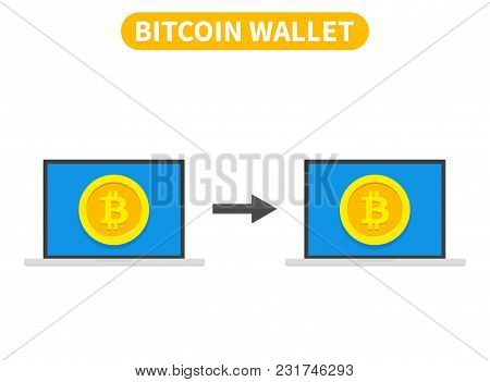 Bitcoin Transaction Concept. Buying Cryptocurrency Using Computer Wallet. Vector Illustration
