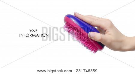 Hairbrush Comb In Hand Pattern On White Background Isolation