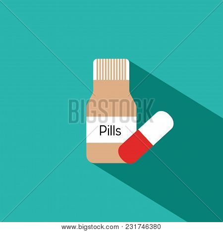 Bottle With Pills And Capsules On Blue Background. Medicine Concept