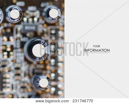 Black Capacitors On The Motherboard Macro Photo, Top View