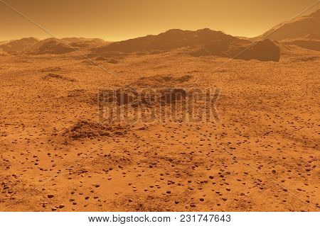 Mars - Red Planet - Landscape With Mountains In The Distance - 3d Illustration