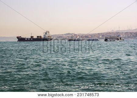 Movement Of Various Ships On Bosphorus. July 2017 Istanbul Turkey.