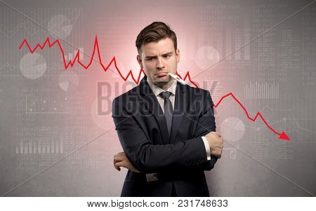 Young sick businessman with decreasing performance concept