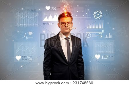 Young sick businessman with fever and medical research concept