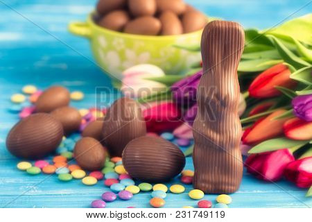 Chocolate Rabbit, Easter Eggs And Tulips