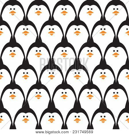 Penguin Seamless Vector Pattern. Cute Aquatic Animals Funny Repeat Texture For Baby Print.