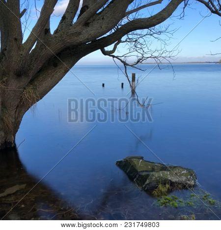 Lough Neagh In Lurgan, Northern Ireland. Winter.