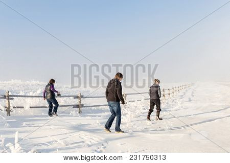 Horizontal Image Of Adult Caucasian Sisters Walking Together On A Peaceful Winter Morning Along A Wo