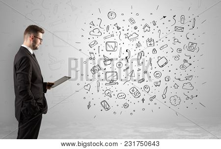 Handsome businessman with social media concept before in an infinity space