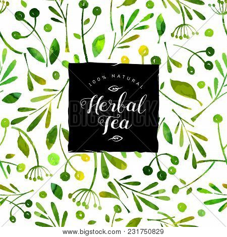 Herbal Tea Logo. Watercolor Seamless Pattern And Pack. Packing And Wrapping Paper.