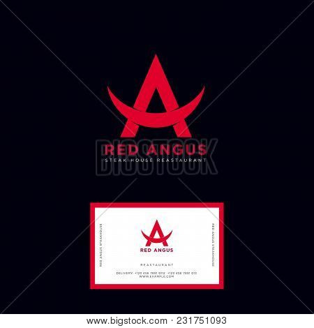 Red Angus Logo. Steak House Emblems. Angus Beef Steak Restaurant. Beef Meat Icon. Red Letter A With