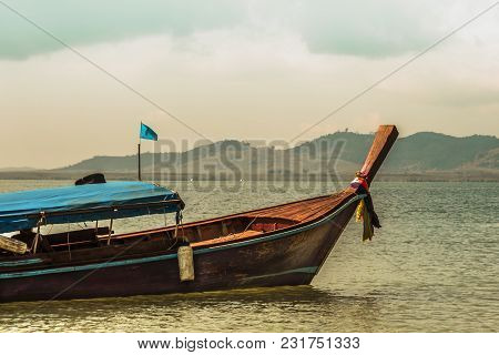 Typical Thai Bow Boat In The Sea Of Andaman Phang Nga Bay Thailand