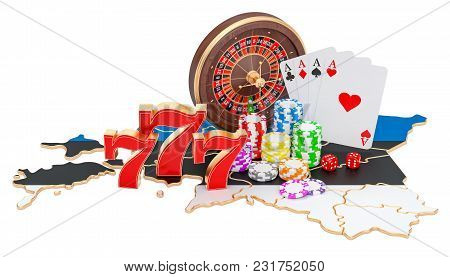 Casino And Gambling Industry In Estonia Concept, 3d Rendering Isolated On White Background
