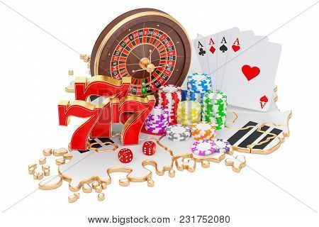 Casino And Gambling Industry In South Korea Concept, 3d Rendering Isolated On White Background