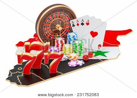 Casino And Gambling Industry In Syria Concept, 3d Rendering Isolated On White Background