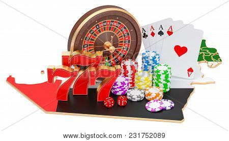 Casino And Gambling Industry In Uae Concept, 3d Rendering Isolated On White Background