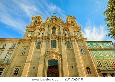 Braga, Portugal. Baroque Facade Of Church And Convent Of Congregados Or Convent Of Congregation In A