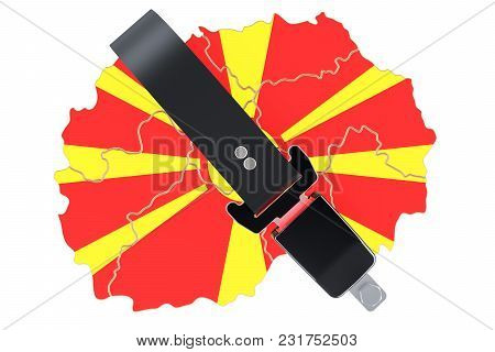 Macedonian Map With Safety Belt. Security And Protect Or Insurance Concept, 3d Rendering