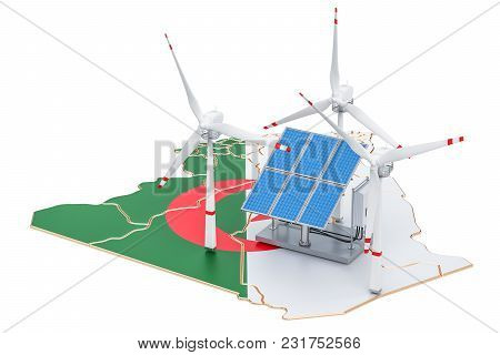 Renewable Energy And Sustainable Development In Algeria, Concept. 3d Rendering Isolated On White Bac