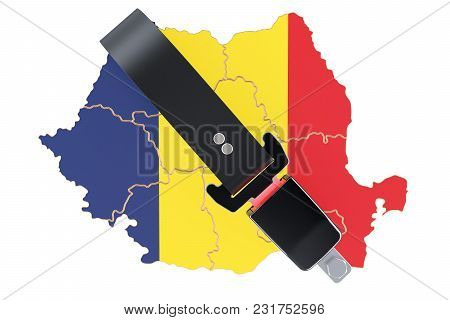 Romanian Map With Safety Belt. Security And Protect Or Insurance Concept, 3d Rendering