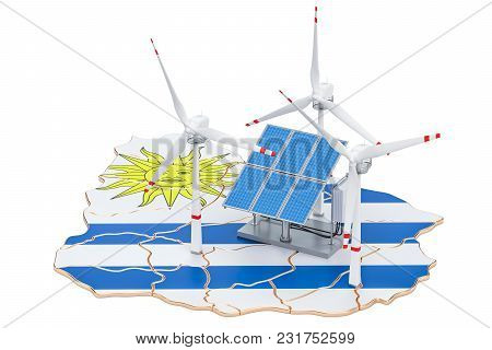 Renewable Energy And Sustainable Development In Uruguay, Concept. 3d Rendering Isolated On White Bac