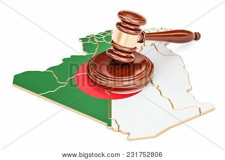 Wooden Gavel On Map Of Algeria, 3d Rendering Isolated On White Background