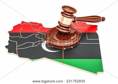 Wooden Gavel On Map Of Libya, 3d Rendering Isolated On White Background