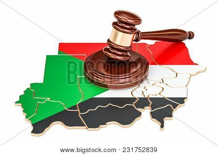 Wooden Gavel On Map Of Sudan, 3d Rendering Isolated On White Background