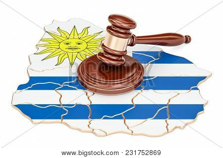 Wooden Gavel On Map Of Uruguay, 3d Rendering Isolated On White Background