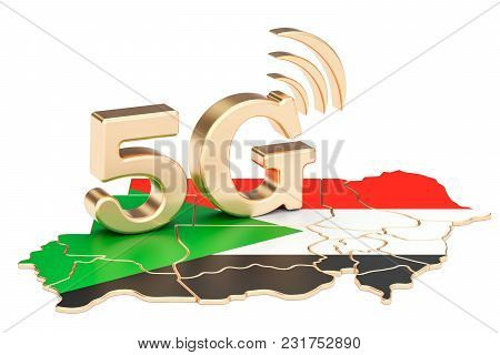 5g In Sudan Concept, 3d Rendering Isolated On White Background