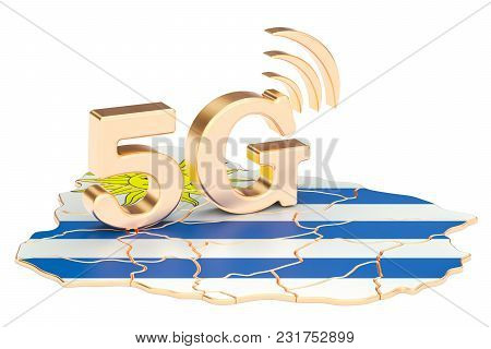 5g In Uruguay Concept, 3d Rendering Isolated On White Background