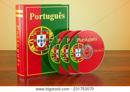 Portuguese Book With Flag Of Portugal And Cd Discs On The Wooden Table. 3d Rendering