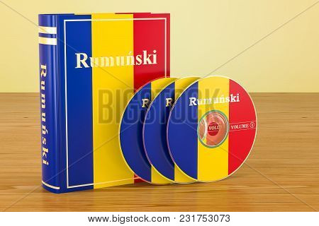 Romanian Language Textbook With Flag Of Romania And Cd Discs On The Wooden Table. 3d Rendering